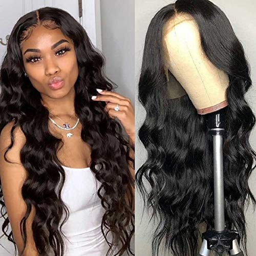 Body Wave Human Hair Wigs Lace Front Wigs 12 Inch Swiss Lace 10A Virgin Human Hair With Baby Hair Pre Plucked Natural Black Color BLY