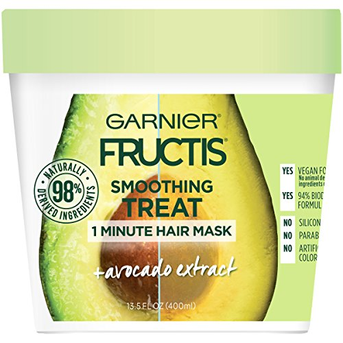 Garnier Fructis Smoothing Treat 1 Minute Hair Mask with Avocado Extractfor Split Ends and to Add Shine, 13.5 Fl Oz (Pack of 1)