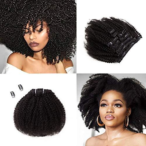 SAGA QUEEN Hair Mongolian Afro Kinky Curly Clip In Hair Extensions 9pcs 20clips 120g/bundle Mongolian Virgin Remy Human Hair (1 bundle 14inch, natural black)