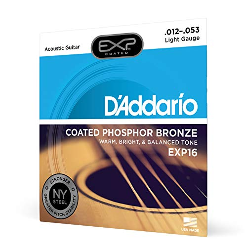 DAddario EXP16 Coated Phosphor Bronze Acoustic Guitar Strings, Light, 12-53  Offers a Warm, Bright and Well-Balanced Acoustic Tone and 4x Longer Life - With NY Steel for Strength and Pitch Stability