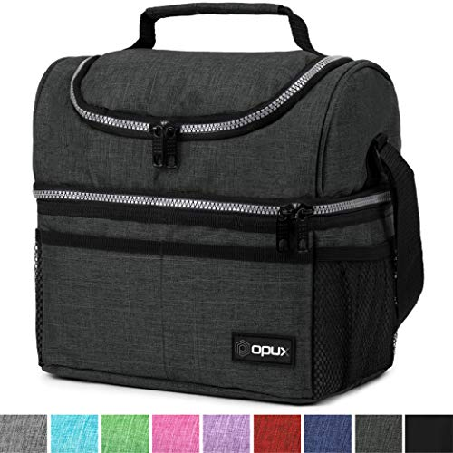 Insulated Dual Compartment Lunch Bag for Men, Women | Double Deck Reusable Lunch Box Cooler with Shoulder Strap, Leakproof Liner | Medium Lunch Pail for School, Work, Office (Charcoal)