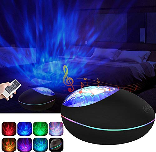 Aisuo Night Light, Ocean Wave Projector with HiFi Bluetooth Speaker, Built-in Music Player, Sleep Timer & Remote Control, Support TF Card and Aux Line, Multifunctional Room Decor.
