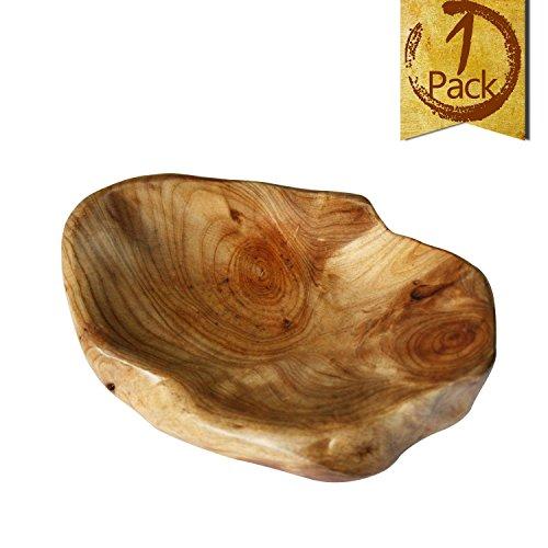 LOL MART Food Storage Root Carving Natural Wood Crafts Serving Tray (B)