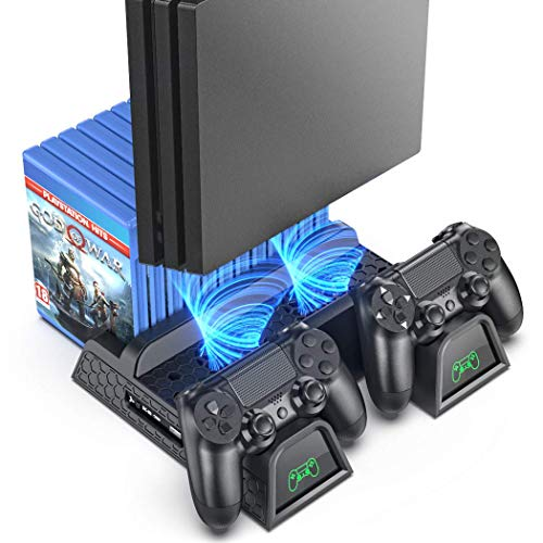 PS4 Stand Cooling Fan Station for Playstation 4/PS4 Slim/PS4 Pro, OIVO PS4 Pro Vertical Stand with Dual Controller EXT Port Charger Dock Station and 12 Game Slots