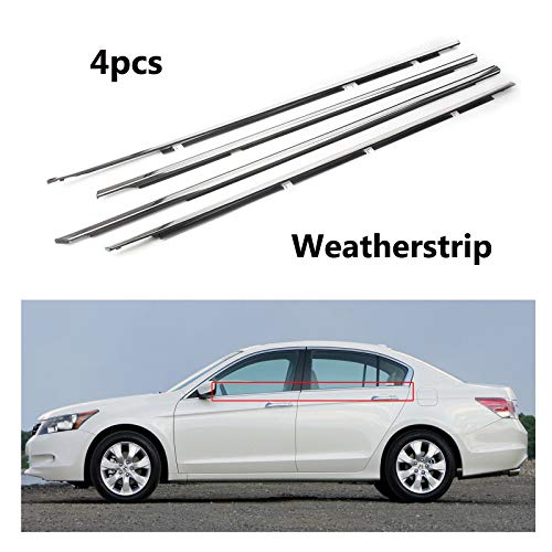 MotorFansClub 4PCS Weatherstrip Window Seal fit for Compatible with Honda Accord 2008 2009 2010 2011 2012, Chrome Door Outside Trim Seal