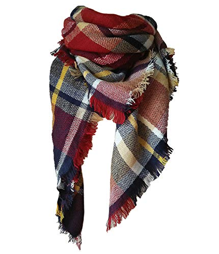 Qupish Plaid Blanket Winter Scarfs for Women Soft Warm Cozy Scarf Classic Chunky Oversized Wrap Shawl Scarves Gifts(Red)
