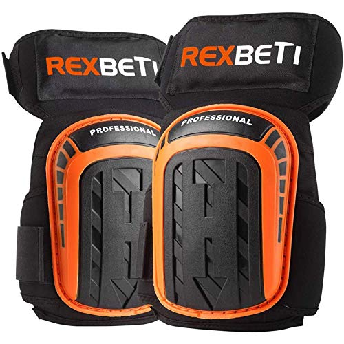 Knee Pads for Work, Construction Gel Knee Pads Tools by REXBETI, Heavy Duty Comfortable Anti-slip Foam Knee Pads for Cleaning Flooring and Garden, Strong Stretchable Straps, 1 Pair