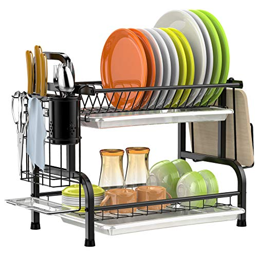 Dish Drying Rack, GSlife 304 Stainless Steel 2 Tier Dish Rack with Trays, Utensil Holder, Cutting Board Holder, Rustproof Dish Drainer for Kitchen Counter, Black
