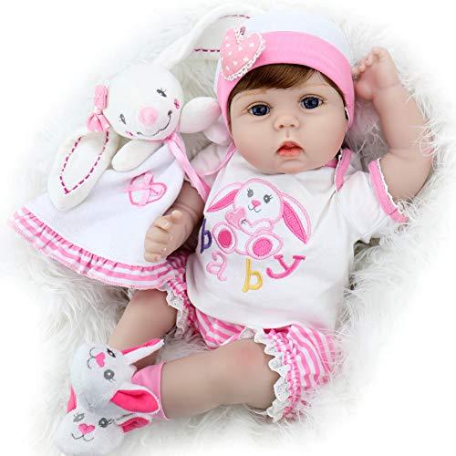 Aori Reborn Baby Dolls 22 Inch Realistic Handmade Lifelike Girl Dolls with Bunny Gifts