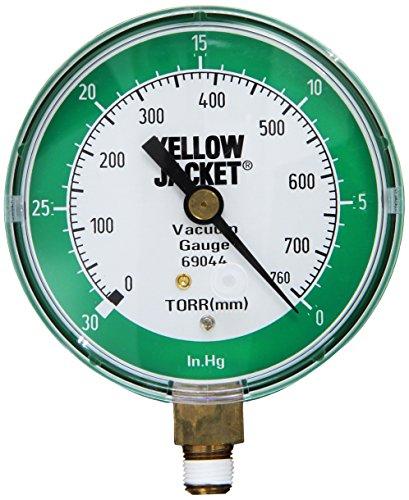 Yellow Jacket 69044 Vacuum Gauge, 0-30' Hg/760-0 Torr, 3 1/8'