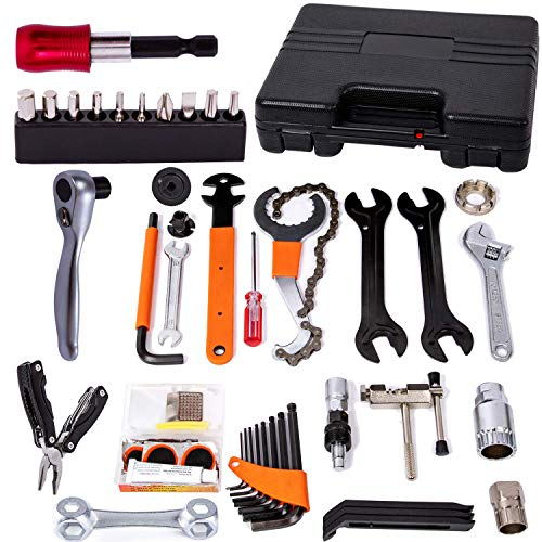 NAMUCUO Bike Repair Tool Kit - Bicycle Tool Kit Set with Reversible Drive Ratchet Tool, Chain Tool Bike Tire Tool Pedal Wrench, etc. 6 Months Warranty