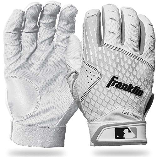 Franklin Sports 2nd-Skinz Batting Gloves - White/White - Youth X-Small