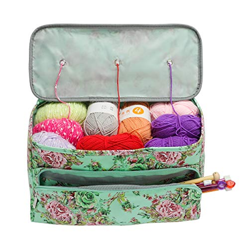 Looen Knitting Bag Large Size,Yarn Storage Organizer Tote Bag Holder Case Cuboid with Zipper Closure and Pocket for Knitting Needles Crochet Hooks Project Accessories,Easy to Carry