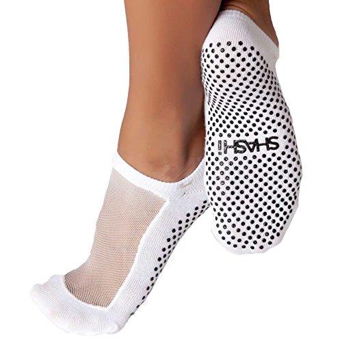 Shashi White Mesh Non Slip Ergonomic Socks Pilates Barre Ballet Yoga Dance White Medium / 8-10
