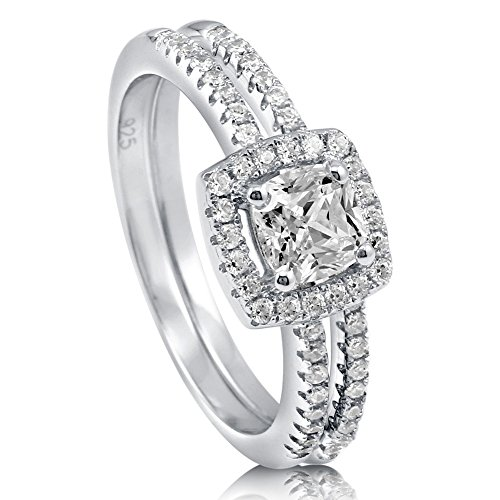 BERRICLE Rhodium Plated Sterling Silver Cushion Cut Cubic Zirconia CZ Halo Engagement Wedding Ring Set 0.89 CTW Size 6