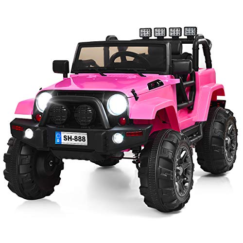 Costzon Ride On Truck, 12V Battery Powered Electric Ride On Car w/ 2.4 GHZ Bluetooth Parental Remote Control, LED Lights, Double Open Doors, Safety Belt, Music, MP3, Spring Suspension (Pink)