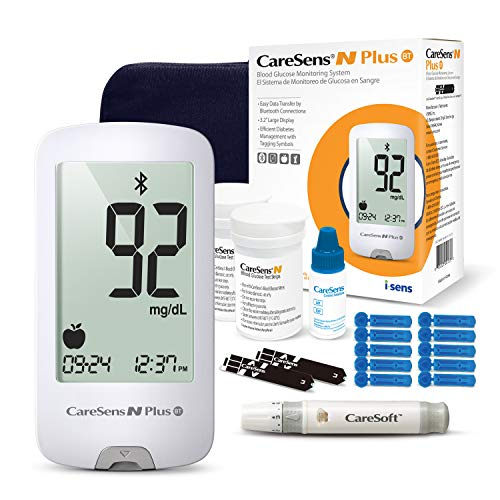 CareSens N Plus Bluetooth Glucose Meter Kit (Auto Coding) - 1 Diabetes Monitor Device, 100 Glucose Test Strips, 1 Control Solution, 1 Lancing Device, 100 Lancets (30G), 1 Carrying Case, 2 Batteries