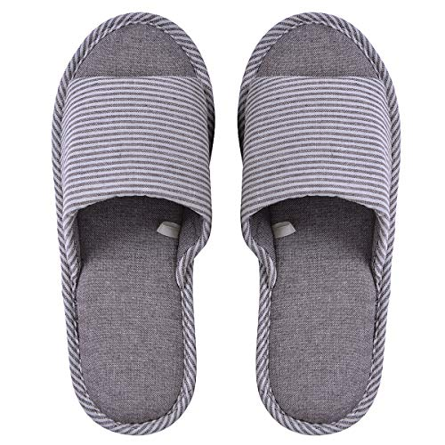 Memorygou Womens/Mens Home Slippers, Cotton and Linen Casual Indoor Outdoor Open-Toe Shoes US 9-10, Coffee