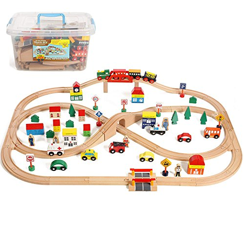 On Track USA Wooden Train Set 100 Piece All in One Wooden Toy Train Tracks Set with Magnetic Trains and Railway Accessories, Comes in A Clear Container, Compatible with All Major Brands