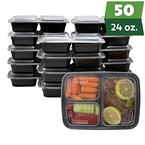 [50 Sets] Meal Prep Containers With Lids, 3 Compartment Lunch Containers, Bento Boxes, Food Storage Containers - 24 oz.