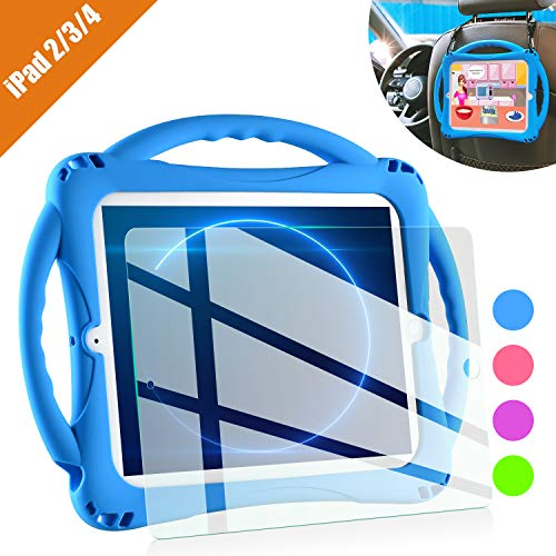 TopEsct iPad 2 Case for Kids, Shockproof Silicone Handle Stand Case Cover&(Tempered Glass Screen Protector) for Apple iPad 2nd Generation,iPad 3rd Generation,iPad 4th Generation (Blue)