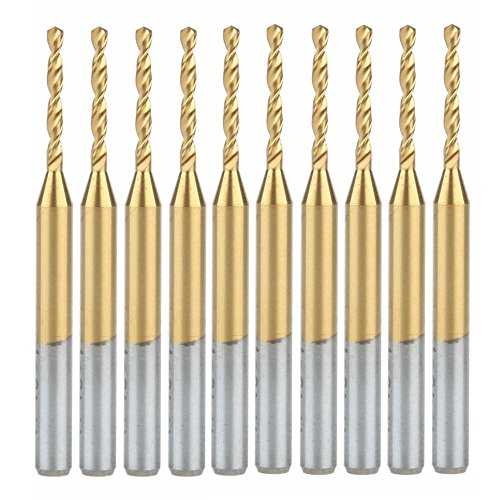 HOZLY Titanium Nitride Coated Carbide PCB CNC Drill Bits Router 1.4mm Pack of 10
