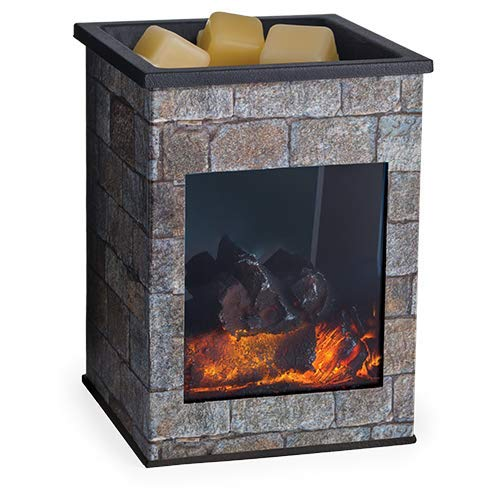 CANDLE WARMERS ETC. Fireplace Illumination Fragrance Warmer- Light-Up Warmer for Warming Scented Candle Wax Melts and Tarts or Essential Oils to Freshen Room, Hearthstone