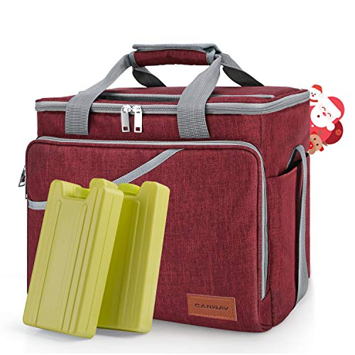 CANWAY Cooler Bag 40-Can Large, Insulated Soft Sided Cooler Bag with 2 Ice Packs for Outdoor Travel Hiking Beach Picnic BBQ Party, Red