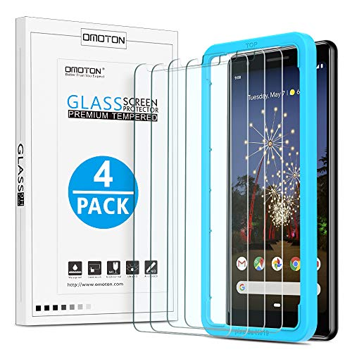 [4 Pack] OMOTON Google Pixel 3a Screen Protector, Tempered Glass/ Alignment Frame/ High Definition/ Only Cover Display Area