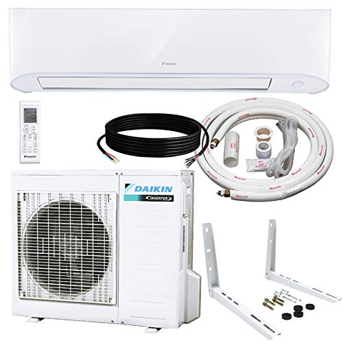 Daikin 12,000 BTU 17 SEER Wall-Mounted Ductless Mini-Split Inverter Air Conditioner Heat Pump System 15 Ft. Installation Kit & Wall Bracket (230 Volt), 12, 000 BTU