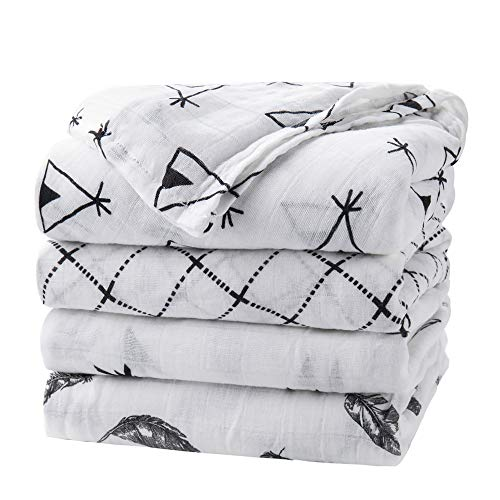 upsimples Baby Swaddle Blanket Unisex Swaddle Wrap Soft Silky Bamboo Muslin Swaddle Blankets Neutral Receiving Blanket for Boys and Girls, Large 46 x 45 inches, Set of 4-Arrow/Feather/Tent/Crisscross