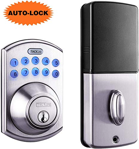 Tacklife Keypad Electronic Deadbolt Door Lock, Keyless Entry Door Lock with 1-Touch Motorized Auto-Locking, Easy to Install for Locker, Office & Home, Satin Nickel-EKPL1A