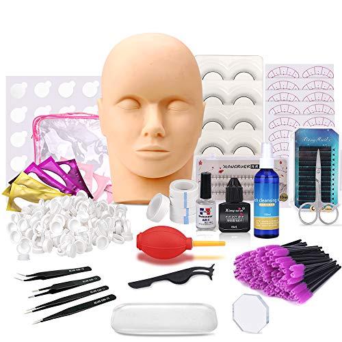 Pro 26 Pcs False Eyelashes Extension Practice Exercise Set, Professional Flat Mannequin Head Lip Makeup Eyelash Grafting Training Tool Kit for Makeup Practice Eye Lashes Graft