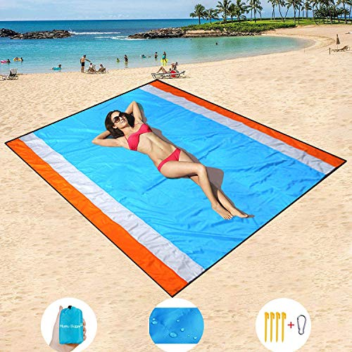 Mumu Sugar Sand Free Beach Mat Oversized 82'x79' Sand Proof Beach Blanket Outdoor Picnic Mat for Travel, Camping, Hiking and Music Festivals-Lightweight Quick Drying Heat Resistant