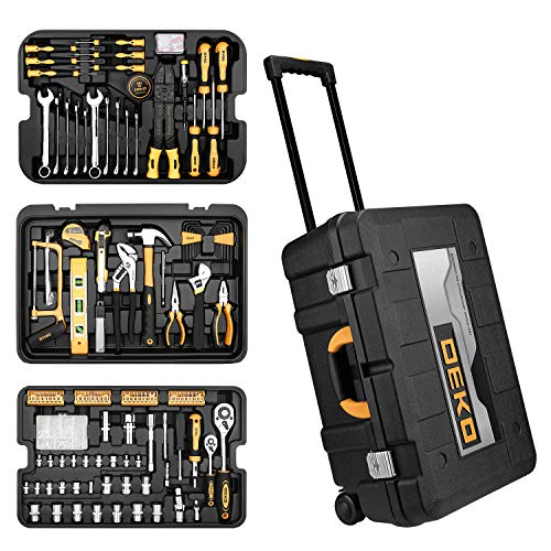 DEKOPRO 258 Piece Tool Kit with Rolling Tool Box Socket Wrench Hand Tool Set Mechanic Case Trolley Portable