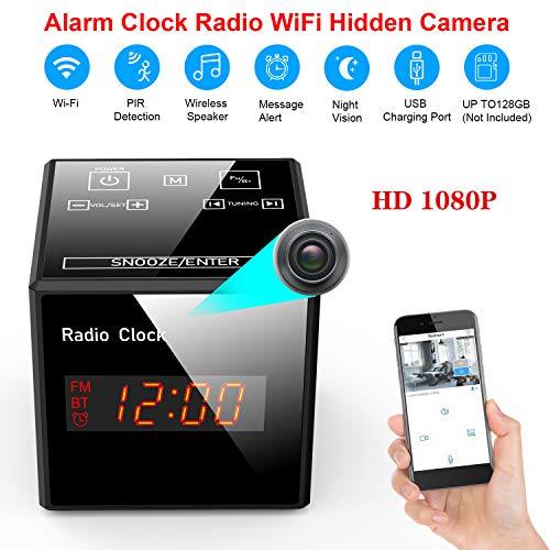 Hidden Cam Spy Camera - Alarm Clock FM Radio - 1080P Nanny Cams Wireless with Phone App - Bluetooth Speaker & USB Charging Ports - Night Vision & Motion Detection - Storage 128GB