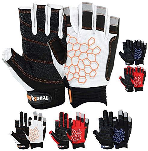 MRX BOXING & FITNESS Sailing Gloves Sticky Palm Gripy Glove Yachting Kayak Dinghy Fishing Short Finger Multi Colors (Black/White/Orange, S)