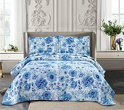 Yc 3-Piece Ink Flower Quilt Set Printed Bedspread Chinese Traditional Painting Flowers Summer Quilt for Full/Queen Size Lightweight Coverlets with 2 Pillow Shams -Blue Flower Quilts