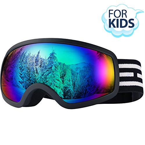 LOEO Kids Ski Goggles, Snowboard Ski Goggles for Kids, Youth, Teens, Boys and Girls Toddler Age 5-14, Wind Resistance, Anti-Glare Lenses, 100% UV Protection
