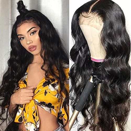 TUNEFUL 4x4 Lace Closure Wigs Human Hair Wigs for Black Women Brazilian Virgin Human Hair Body Wave Lace Front Wigs 150% Density Human Hair With Baby Hair (20 Inch, Natural Black)