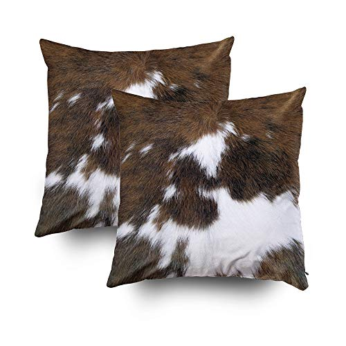 TOMWISH 2 Packs Hidden Zippered Pillowcase Christmas Cowhide Accent Printing 18X18Inch,Decorative Throw Custom Cotton Pillow Case Cushion Cover for Home