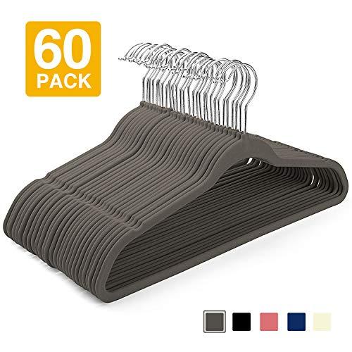 HOUSE DAY Velvet Hangers (60 Pcs) Heavy Duty Hangers Non Slip Velvet Suit Hangers Grey Ultra Thin Standard Velvet Hangers Space Saving Clothes Hangers,Grey