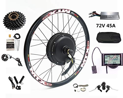 72V 2000W Rear Wheel Motor, 2000W Electric Bicycle Conversion Kit with Mutifunction SW900 Display,72V 40A Controller, with 7 Speed flywheel (29inch)