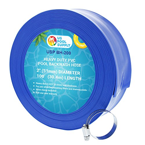 U.S. Pool Supply 2' x 100' Heavy Duty Blue PVC Swimming Pool Backwash Hose with Hose Clamp