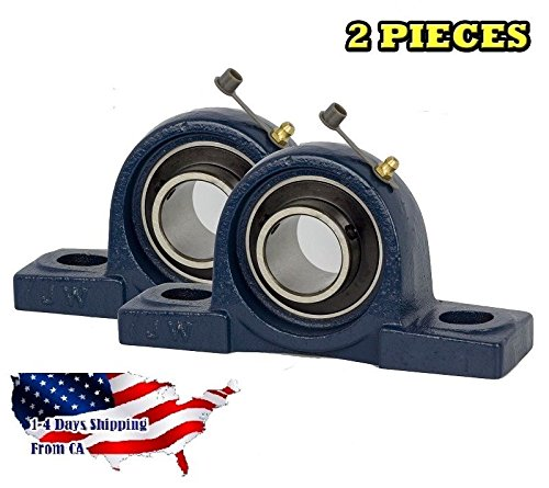 2 Pieces UCP206-20, 1-1/4 inch Pillow Block Bearing Solid Base,Self-Alignment, Brand New