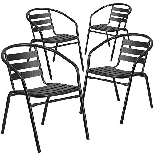 Flash Furniture 4 Pk. Black Metal Restaurant Stack Chair with Aluminum Slats
