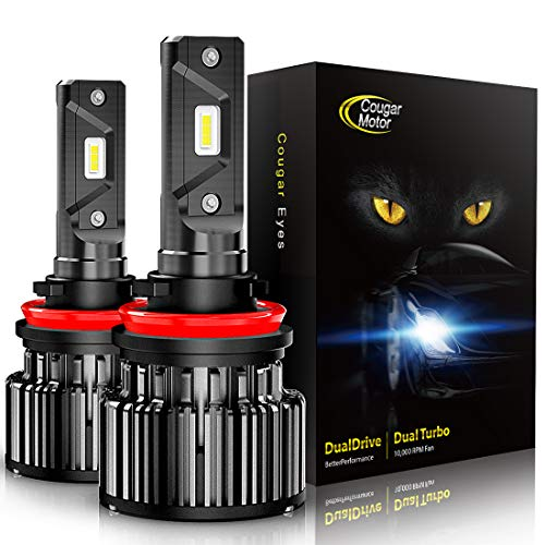 Cougar Motor LED Headlight Bulbs All-in-One Conversion Kit - H11 (H8, H9) -10000Lm 6000K Cool White CREE