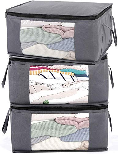 ABO Gear G01 Bins Bags Closet Organizers Sweater Clothes Storage Containers, 3pc Pack, Gray, 8 Pounds