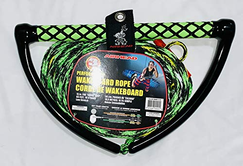 """Kwik Tek Airhead Watersports Wakeboard Rope, 15 in. Eva """"Squid"""" Grip, 65 Feet, 16 Strand, Low Stretch"""