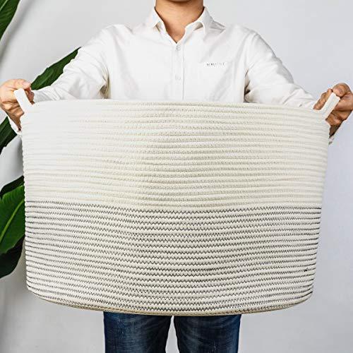 INDRESSME XXXLarge Cotton Rope Basket 21.7' x 21.7' x 13.8' Woven Baby Laundry Basket for Blankets Toys Storage Basket with Handle Comforter Cushions Storage Bins Thread Laundry Hamper-Black Stitch